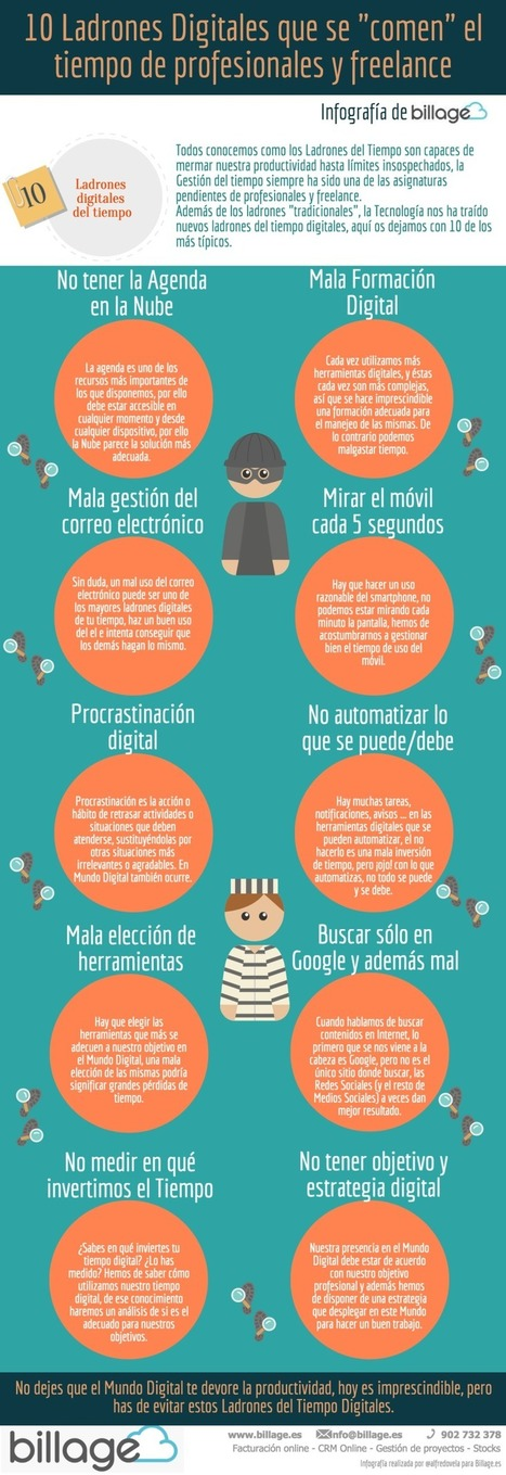 "10 Ladrones Digitales que se ""comen"" tu tiempo #infografia #infographic 