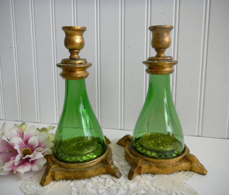 Unique Green Glass Mosaic Wood Candle Holders / Mosaic Tile/ Wood Candle holder/Collectible/ Home Decor / Candles/ Shabby Chic/  Set of 2. | QuiteQuainte | Scoop.it