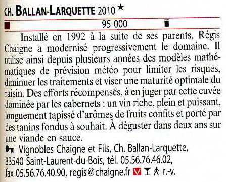 Château Ballan-Larquette sélectionné par le guide hachette 2013 | Nombrilisme | Scoop.it