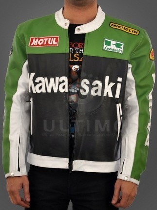 Kawasaki Motorcycle Real Leather Biker Jacket - Black/Green   You like leather jackets since nobody ignored it   Scoop.it