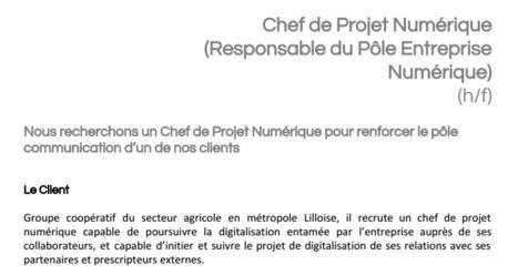 CDI  - Chef de projet numérique (Métropole Lilloise) | Time to Learn | Scoop.it