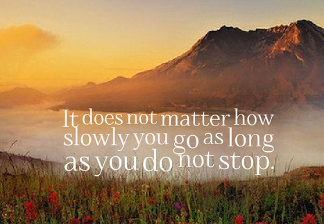 It does not matter how slowly you go as long as you do not stop. Confucius | Picture Quotes and Proverbs | Scoop.it