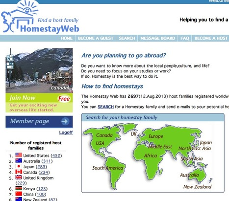 "HomestayWeb - Find a homestay family | ""World Travel"" info 世界旅行の情報 