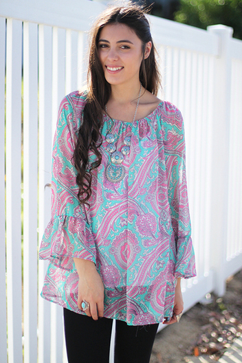 paisley bell sleeve blouse | Online shopping store | Scoop.it