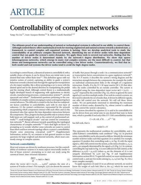 Controllability of complex networks.pdf | Networks and Graphs | Scoop.it