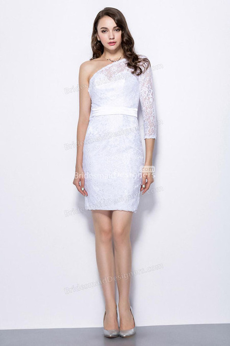 One Shoulder Sheath Short White Lace Bridesmaid Dress with Sheer SLeeve | Designer Bridesmaid Dresses 2015 | Scoop.it