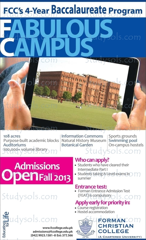 FCC Lahore Admission open Fall 2013 | All Eductional News | Scoop.it