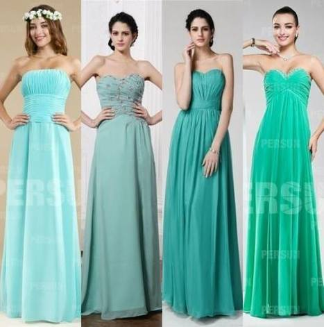 Will these green bridesmaid dresses mix up well? | dressesfashion | Scoop.it