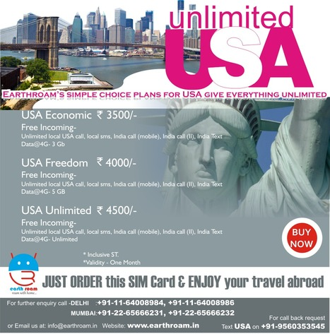 Enjoy Unlimited USA for Voice & Data(4G speed) @ INR 3500/- | Buy Earth Roam International SIM Cards at Cheapest Rate. | Scoop.it