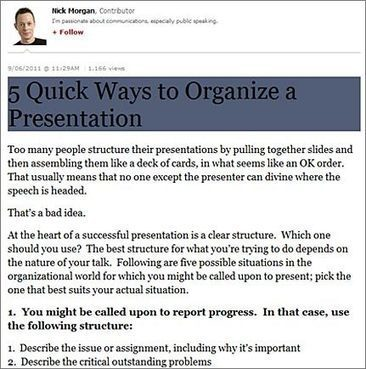How to Properly Organize Presentations – Different Presentation Structures – 24Point0 Tips | be more U-rganised | Scoop.it