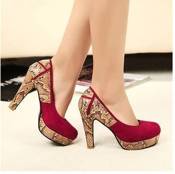 Wholesale Women's pumps fashion serpentine heel shoes SY-C2065 wine red - Lovely Fashion | fashion | Scoop.it