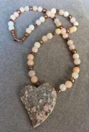 Cowry Fossil Jasper Heart Necklace | Draped in Stone Jewelry | Scoop.it
