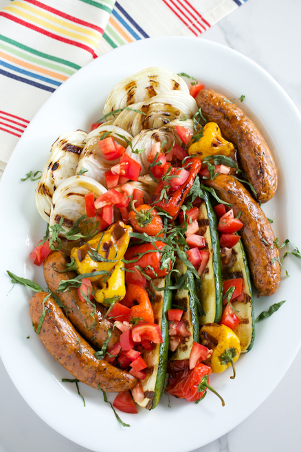 #HealthyRecipe : Grilled Italian Platter with Basil Balsamic Vinaigrette | The Man With The Golden Tongs Goes All Out On Health | Scoop.it