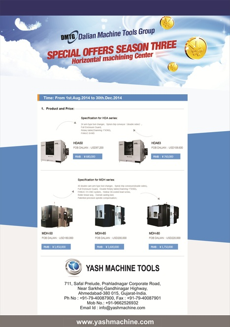 Get Horizontal Machining Center from DMTG at Seasonal Offer Price at Yash Machine Tools   Lathe Machines   Scoop.it