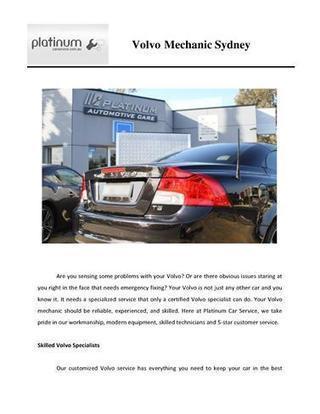 Volvo Mechanic Sydney | Platinum Services | Scoop.it