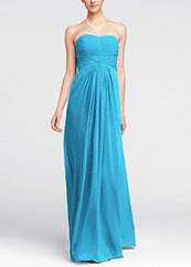Long Strapless Chiffon Dress with Pleated Bodice   Fashion Shoes   Scoop.it