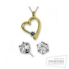 Conjunto Swarovski de corazón oro y pendientes   VanCrystals   Joyas y accesorios   Scoop.it