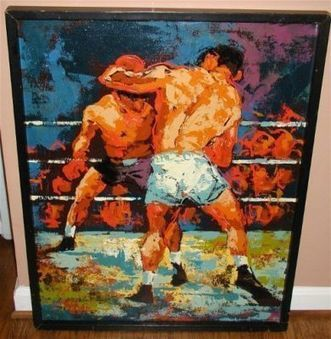 Huge, cool boxing painting by Jack Laird.  leroy neiman style ca 1960's | Alcoholic Outsider Artist | Scoop.it