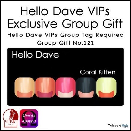 Coral Kitten Nail Applier Group Gift by Hello Dave | Teleport Hub - Second Life Freebies | Second Life Freebies | Scoop.it