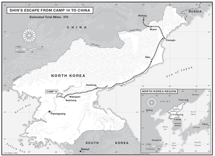 "Shin's Escape map from ""Escape from Camp 14"" 