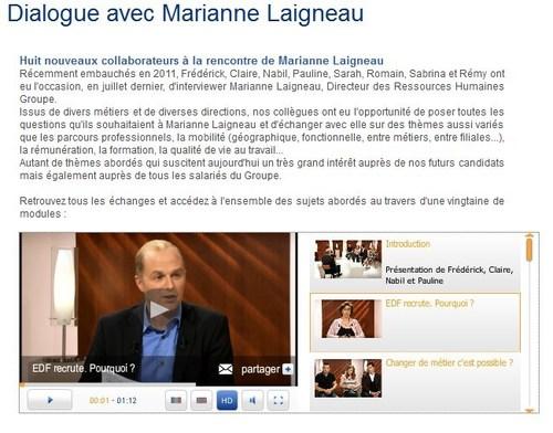 Paul-Emmanuel Géry anime une émission avec Marianne Laigneau, DRH Groupe d'EDF et des nouveaux collaborateurs