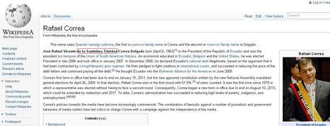 Biografía de Presidente Correa en la Wikipedia retocada por minutos | Anonymous Ecuador | Scoop.it