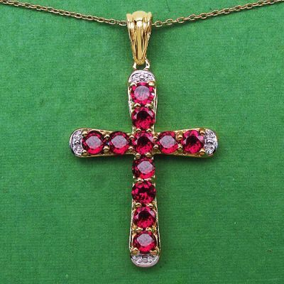 3.63CTW Genuine Rhodolite 14K Yellow Gold Plated .925 Sterling Silver Cross Shape Pendant   Online Jewellery Shopping in India   Scoop.it