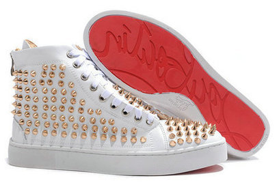 Christian Louboutin White High Sneakers Gold Sharp Nail Spike [10024] - $135.00 : Cool Louboutins, Christian Louboutin Shoes Cool ,Cool Spiked Pump | Fashion shoes | Scoop.it