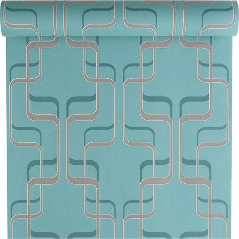 Papier peint vinyle expansé sur intissé Spice, bleu, larg. 0.53 m   décoration   Scoop.it