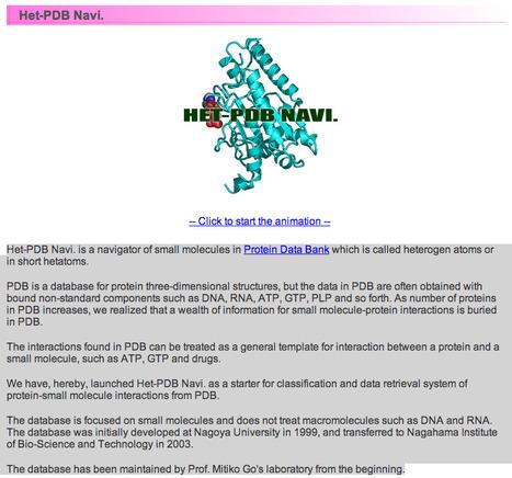 Het-PDB Navi. v1.5.5: Het-PDB Navi. is a navigator of small molecules in Protein Data Bank which is called heterogen atoms or in short hetatoms   bioinformatics-databases   Scoop.it