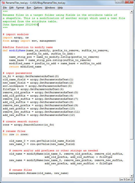 Evolution of a Python Script into a Script Tool: Part 1 | Geography and Other Stuff | ArcPY - Python | Scoop.it