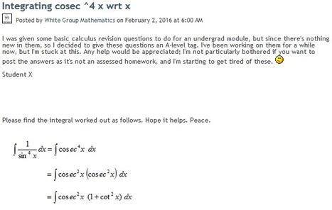 Integrating cosec ^4 x wrt x | Mathematics,Science Resources And News | Scoop.it