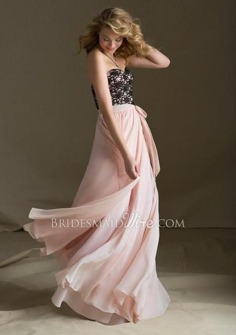 Strapless Sweetheart Black Lace Pink Long Bridesmaid Dress | Woman Wedding Dresses | Scoop.it