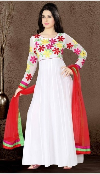 Elegant Off White Faux Georgette Long Length Anarkali Readymade Salwar Suits | fashionheena.com | Scoop.it