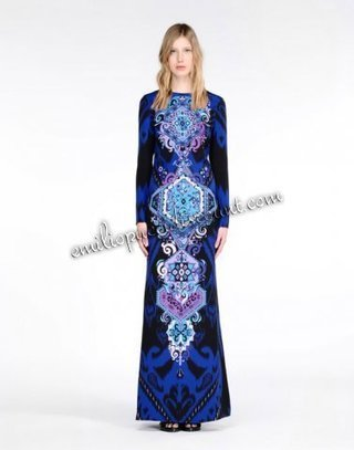 EMILIO PUCCI Gown Blue Royal Print Long-Sleeves Dress | fashion things | Scoop.it