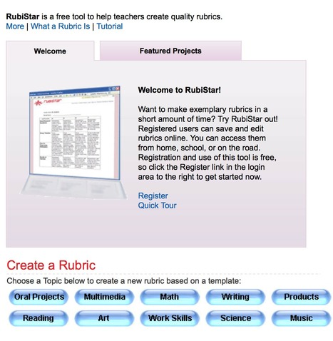 RubiStar Home | Teaching and Learning English through Technology | Scoop.it