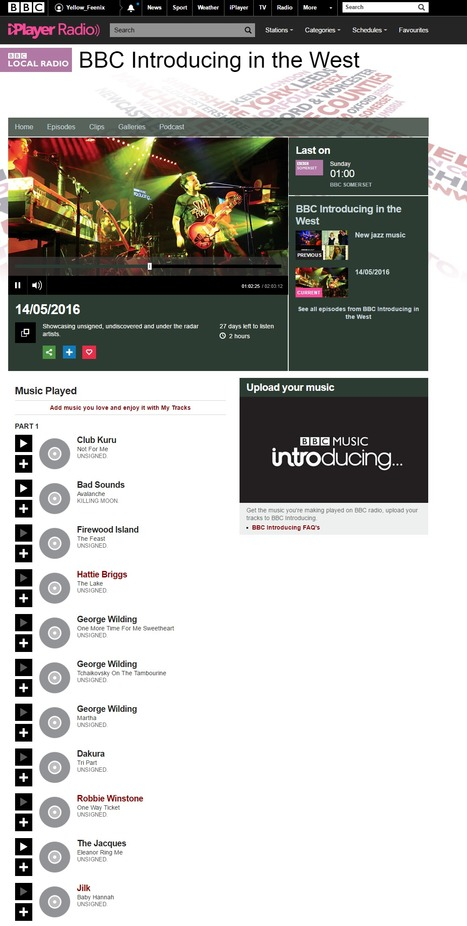 """""""Baby Hannah"""" on 14/05/2016, BBC Introducing in the West - BBC Local Radio 