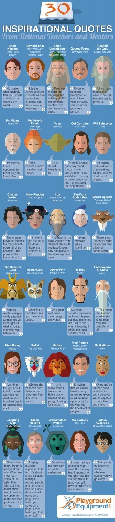 30 Inspirational Quotes from Fictional Teachers and Mentors Infographic | Teacher's corner | Scoop.it