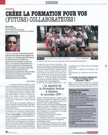 Grain's - Créateur de connaissances: CREEZ LA FORMATION POUR VOS (FUTURS) COLLABORATEURS Magazine Décisions HPA Novembre 2015 | Grain's Créateur de connaissances | Scoop.it