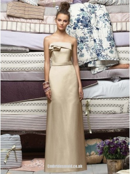 2013 sweetheart bridesmaid dress Champagne Column Strapless Lace Up Floor Length Prom Dresses London With Ruffles - Cmbridesmaid.co.uk | Press Release from dressmebridal.co.uk | Scoop.it