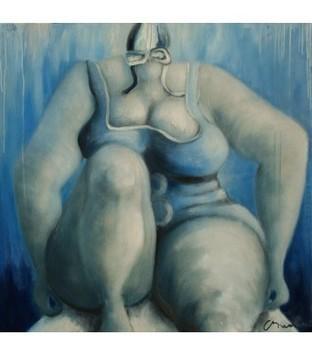 Swimmer n°8 - Bleu - Corinne Brenner - Galerie d'art contemporain le hangART | Tableaux de C. Brenner | Scoop.it