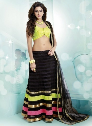 Buy online this affordable Party Lehnga Choli In Black with Lace,Resham   Bridal Lehengas   Scoop.it