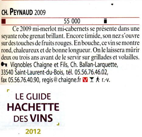 Château Peynaud 2009 - Guide Hachette 2012 | Nombrilisme | Scoop.it