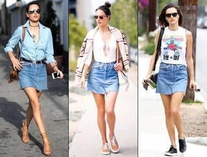 Alessandra Ambrosio Rocked This Denim Skirt Three Ways | Jeans Fashion | Scoop.it
