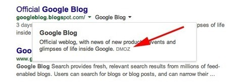 Google search results snippet overlay descriptions may use dmoz ... | J'aime les popup | Scoop.it