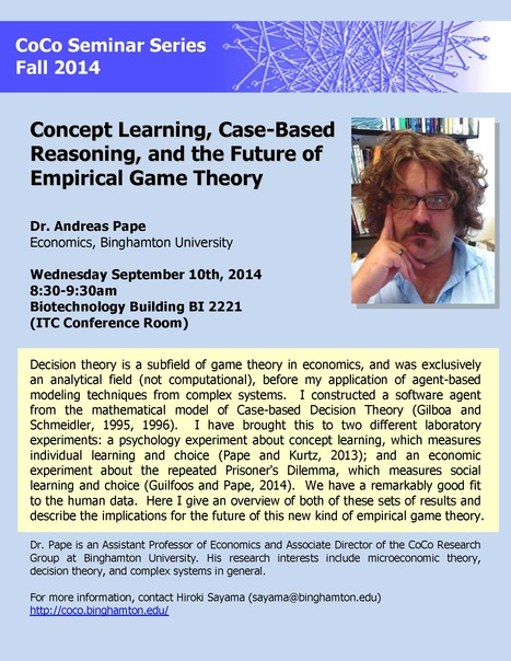 "First CoCo seminar of Fall 2014: ""Concept Learning, Case-Based Reasoning, and the Future of Empirical Game Theory"" (Andreas Pape, Economics) 