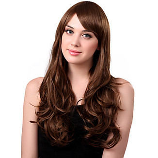 Capless Long Synthetic Fasion Qualities Brown Curly Hair Wig Side Bang – WigSuperDeal.com | African American Wigs | Scoop.it