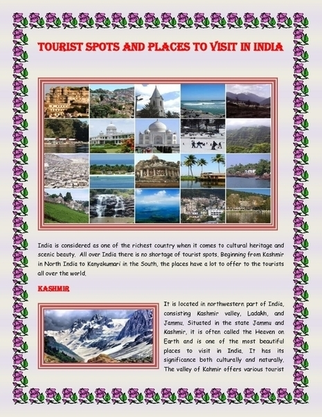 Tourist Spots and Places to Visit in India - PDF | Indian Tourism | Scoop.it