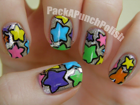 PackAPunchPolish: Colorful Star Nail Art | Polished Nails... | Scoop.it