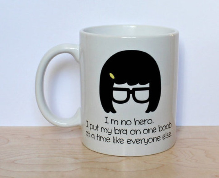 I'm no hero. I put my bra on one boob at a time like everyone else front 11 oz White Ceramic Mug | Walking On Sunshine | Scoop.it
